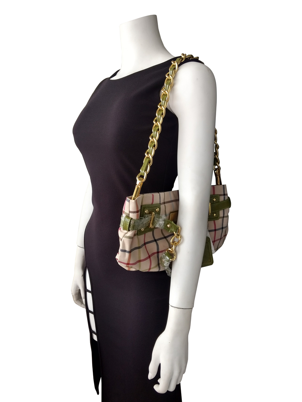 High Quality, Large Plaid Purse. Plaid with Green.