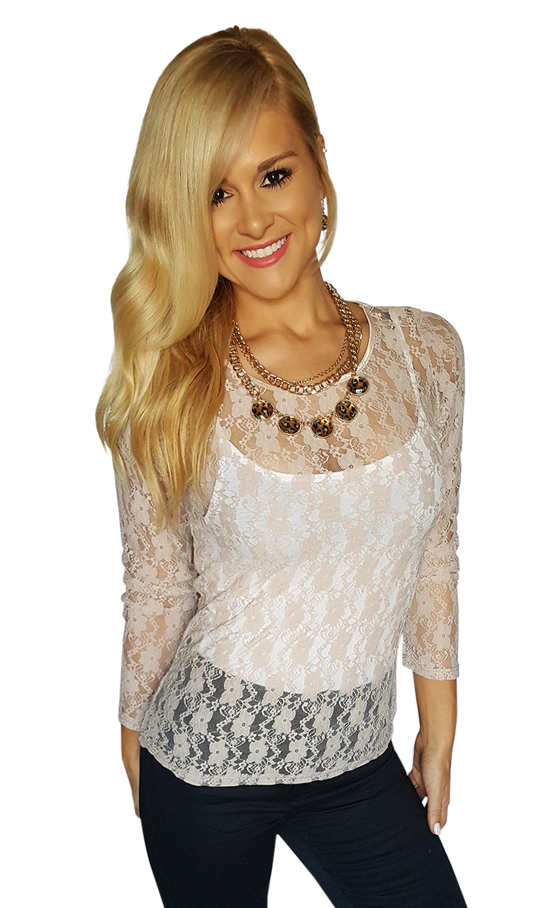 Long Sleeve, Sheer Lace Top | Carrie Allen | Blush  (B-86)