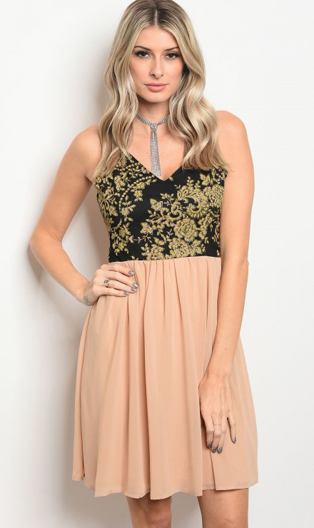 1d97dc13e1d21 Peach Chiffon Spaghetti Strap V-Neck Black & Gold Floral Detail Midi Dress.  (