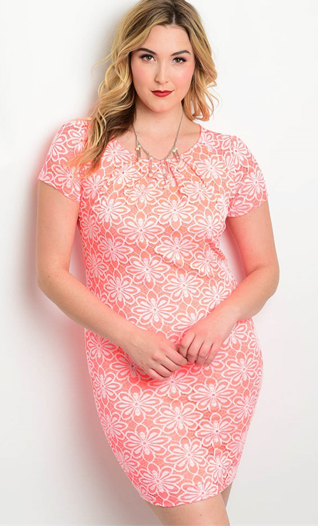 ea2da78f7c3 Plus Size Short Sleeve Floral Lace Pink Coral Dress (17-31)