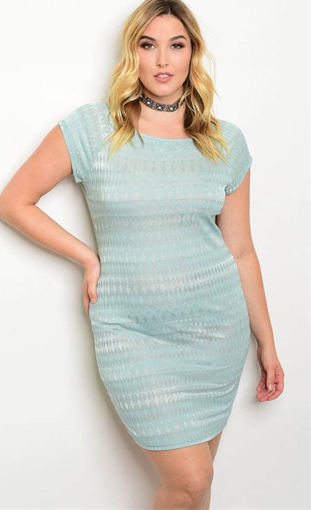 Plus Size Cap Sleeve Geo Print Lace Mini Mini Dress (17-33)