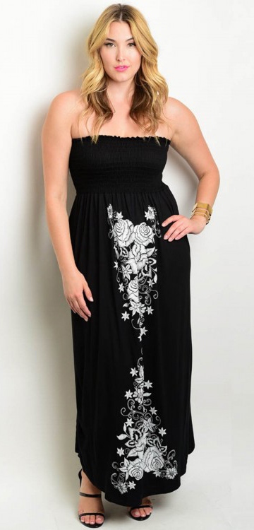 2eaadfabb62 Plus Size Strapless Maxi Dress Floral Design Black and White (17-44 ...