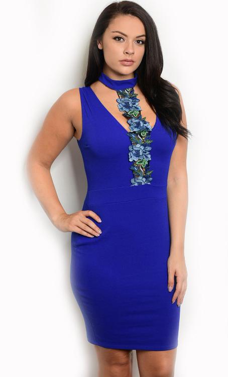 Plus Size Mini Bodycon Royal Blue Dress Features a Floral Applique ...