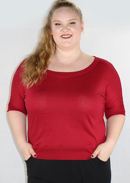 Plus Size Cotton Cranberry Top By Artisan Apparel (H-57)