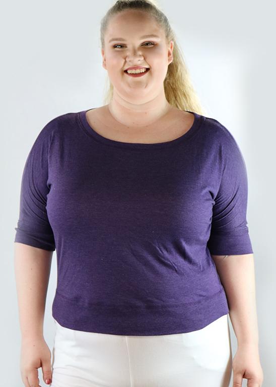 Plus Size Cotton Purple Top By Artisan Apparel (H-59)