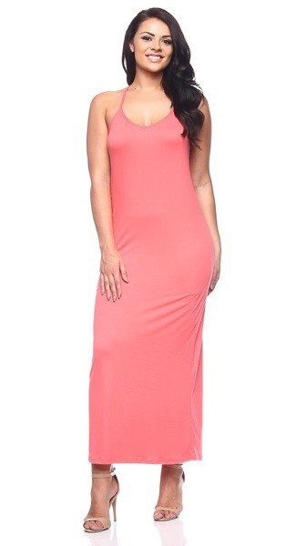 Plus Size Coral Stretch Long Maxi Dress Features a Racer Back (20-8)