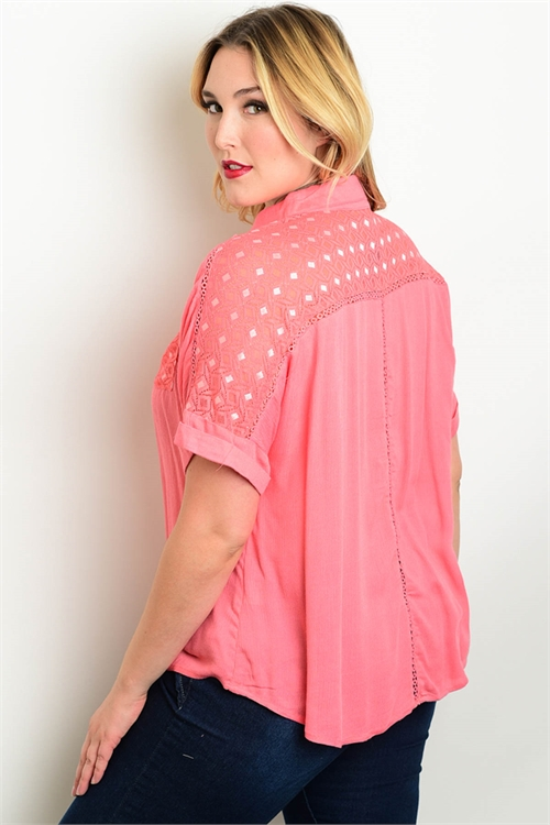 Plus Size Short Sleeve Coral Button Top (21-26)