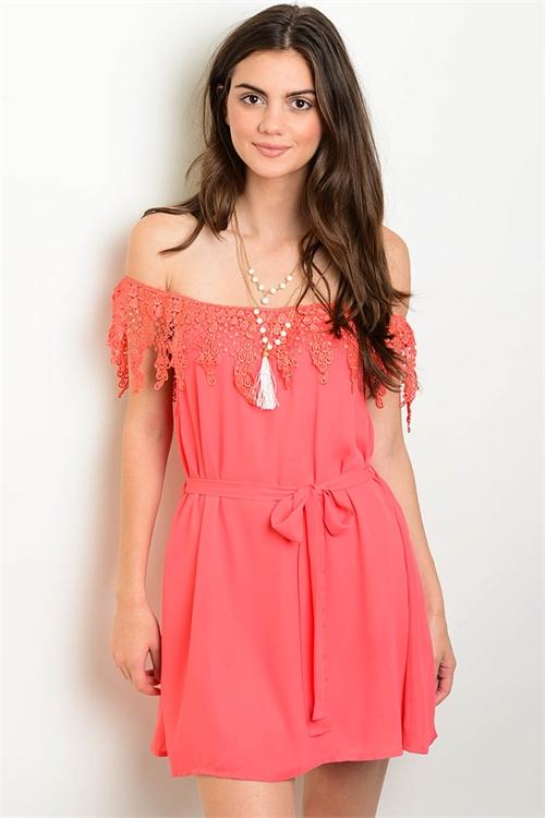 533f6a2f1a7e Elegant Off Shoulder Coral Dress Crochet Detail (22-37 ...