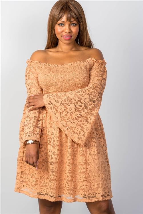 Boho Cooper Floral Lace Off-the-Shoulder Plus Size Dress (25-1)