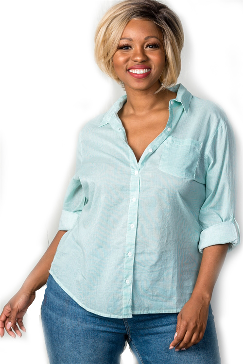 Sage Roll Sleeve Striped Button Down Collared Plus Size Shirt (25-6)