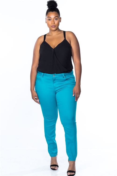 Plus Size Skinny Cotton Spandex Blue Pants (25-10)