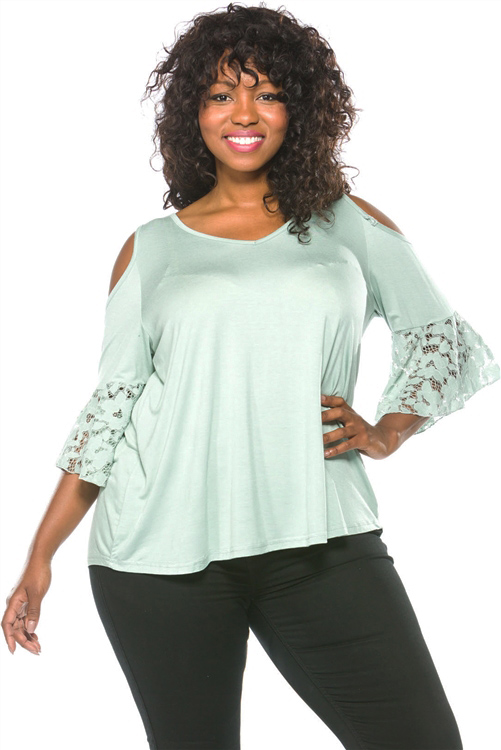 Lace Bell Sleeves Cold Shoulder Plus Size Light sage Top (25-13)