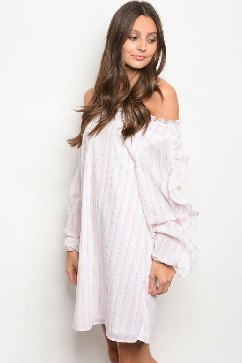 16446853026c 100% Cotton Off Shoulder Pink Stripe Tunic Dress (26-8 ...