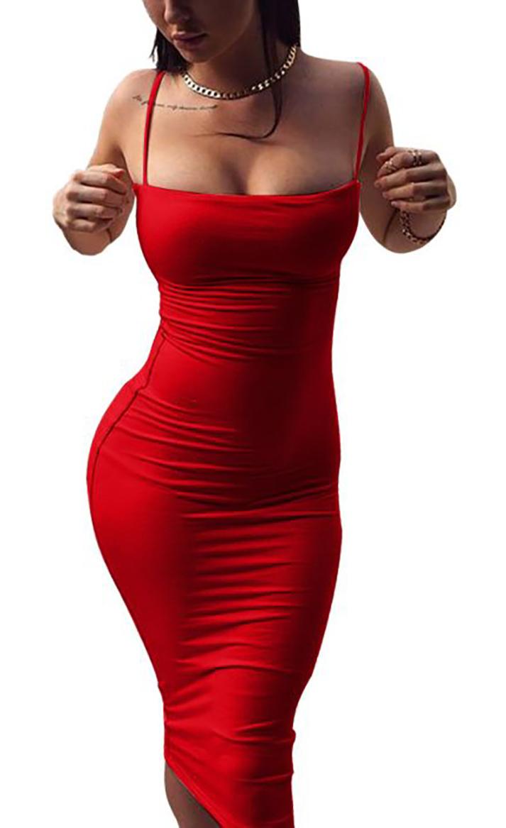 Spaghetti Strap Fitted Midi Dress Red (4-80 ...