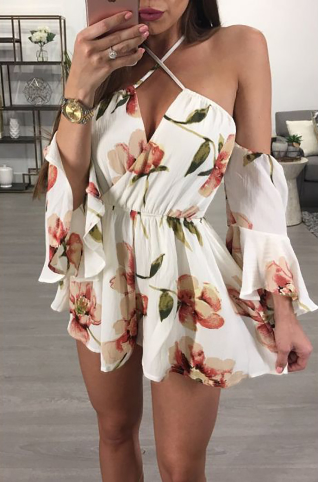 Floral Bell Sleeves Backless Romper White (4-93)