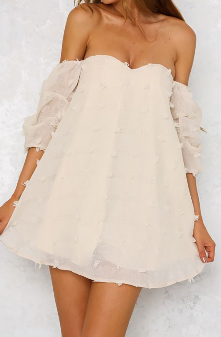 Casual Lining Strapless Cute Mini Dress Beige (4-108)