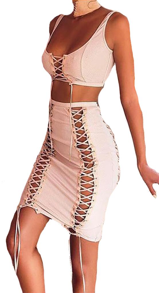 83edeb89f6 Sexy Lace-up Grommet Crisscross Vanilla Skirt & Top Set (4-118 ...