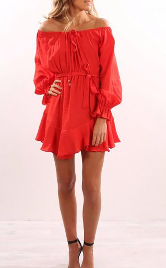 Off Shoulder Flounce Sleeves Strappy Orange Dress (4-132)