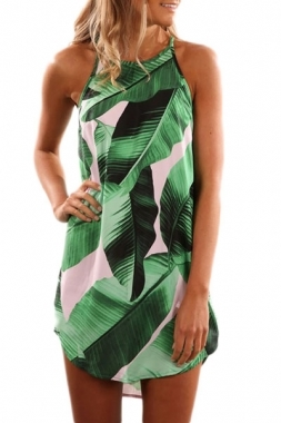 Leaf Print Sleeveless Dress Green (1-125)