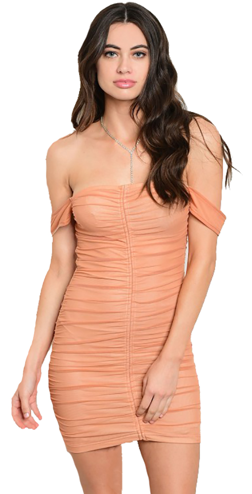 8bd94e47a2 Sexy Sheer Off Shoulder Ruched Front Apricot Dress (7-4 ...