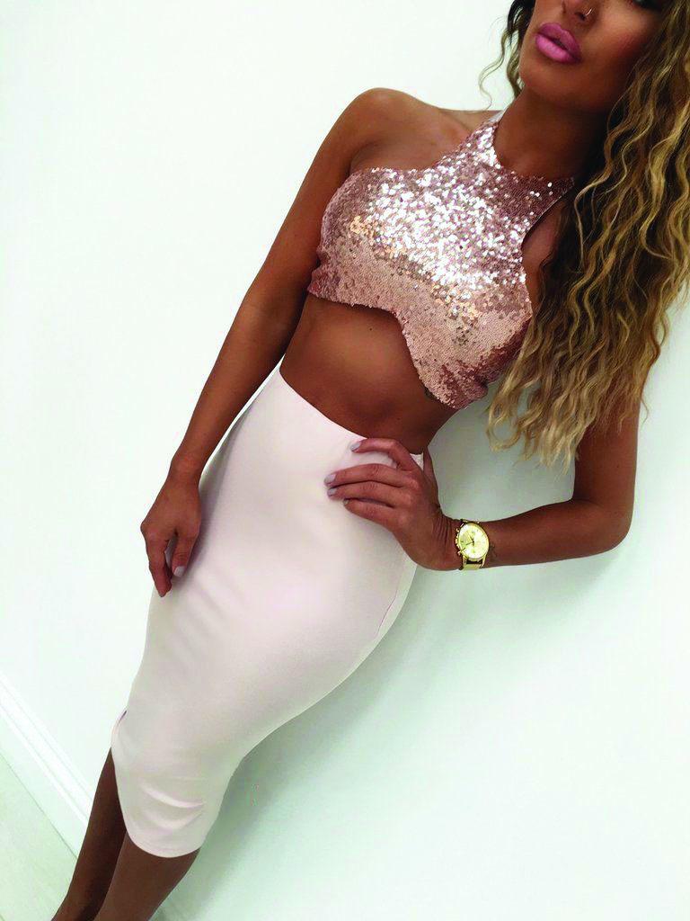 56922cda60df SEXY! Sequin Halter Crop Top & Skirt Pink Set(9-5) - 5dollarfashions.com