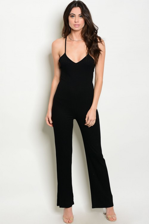 558e33afdf8c Sexy Fitted V Neck Strap Black Jumpsuit (11-14) - 5dollarfashions.com