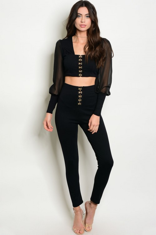 7ef60638d9ad Sheer Crop Top & Legging Black Set (11-22) - 5dollarfashions.com