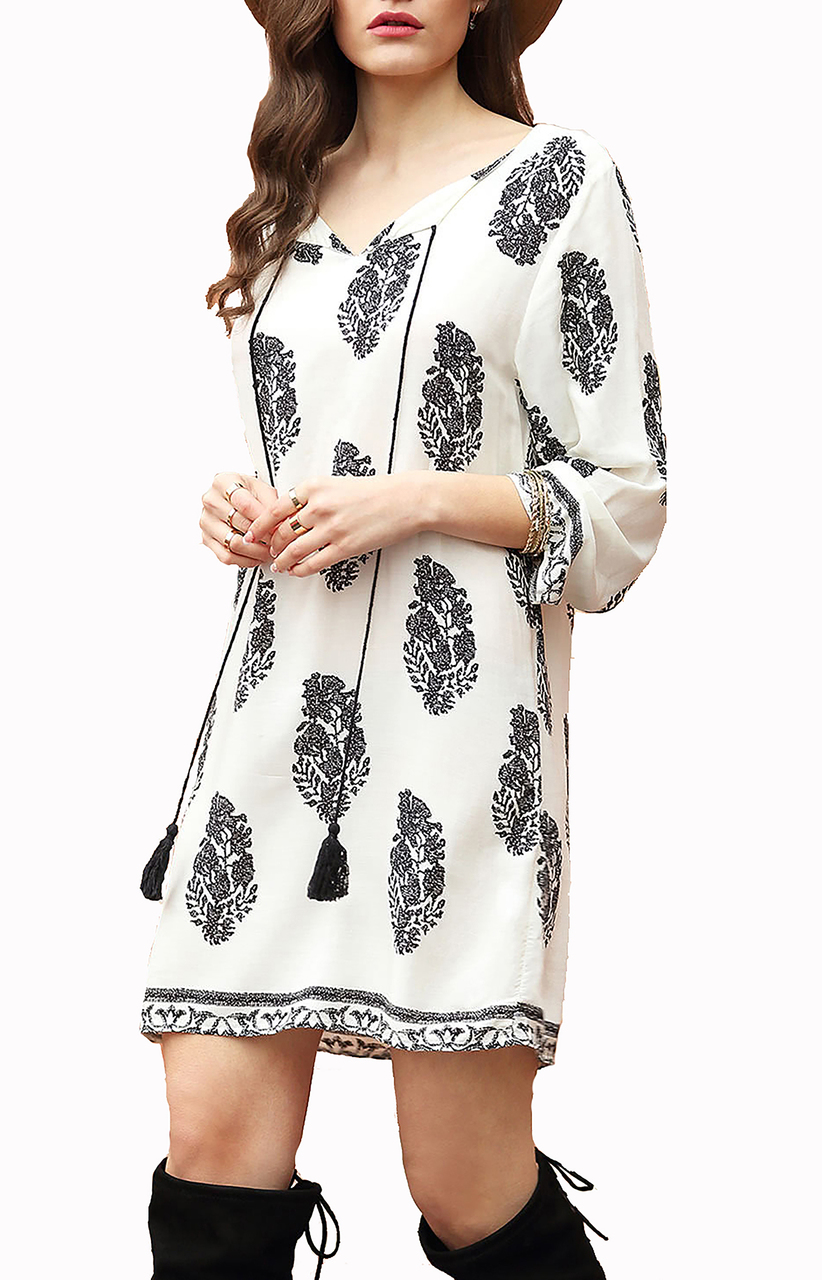 Casual BOHO CHIC Tribal White Floral Dress  (12-4)