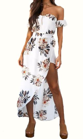 Strapless Chiffon Maxi White Floral  Dress (13-190)