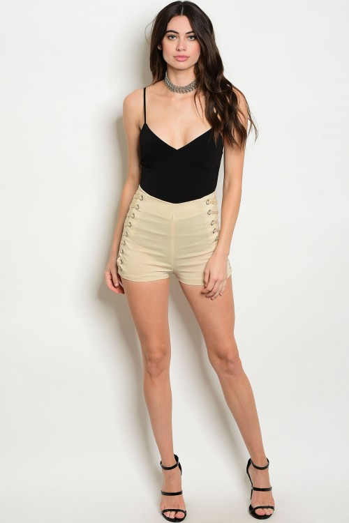 Lace Up Side Beige Shorts (27-22)