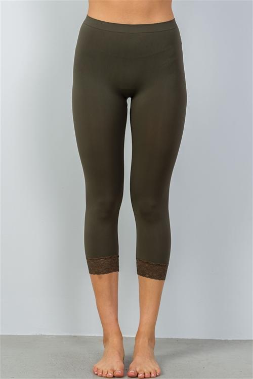 Olive Sport Yoga Capri Pants w/Lace Trim (30-5)