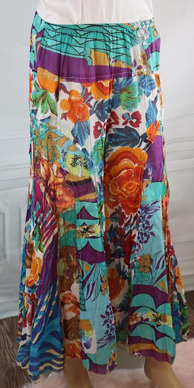 100% Cotton Teal & Orange Floral Boho Pants (32-14)