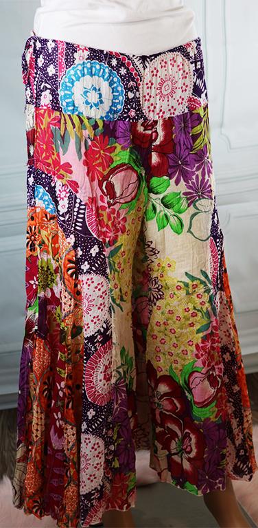 100% Cotton Multi Color Tropical Boho Pants (32-24)