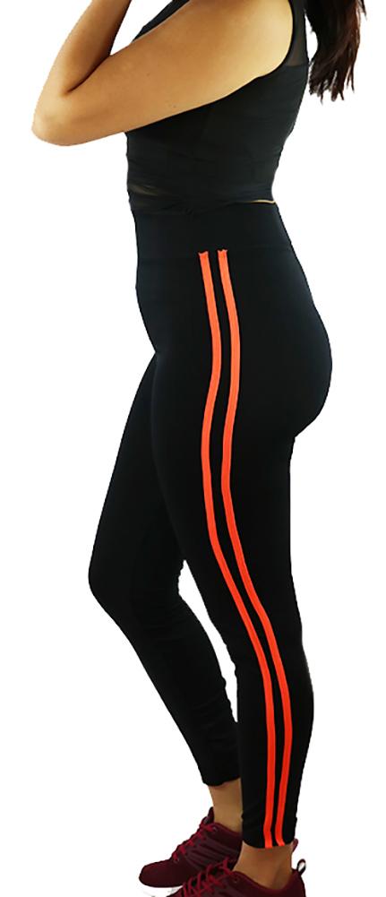 Black Sport Legging w/Neon Orange Stripe (31-2)