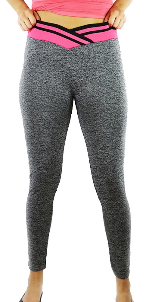 Gray Space-dyed w/Raspberry Sport Leggings (31-8)