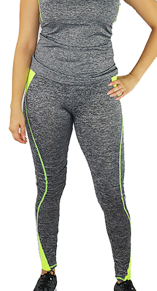 Gray Space-dyed w/Neon Yellow Sport Leggings (31-16)