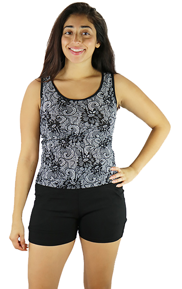 Black Paisley Print Fitted  SportTop (31-26)