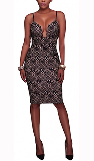 Sexy Spaghetti Strap Lace Overlay Black Dress (14-1)