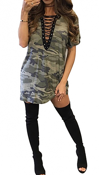 Sexy Lace Up V-Neck Camouflage Mini Dress (14-8)