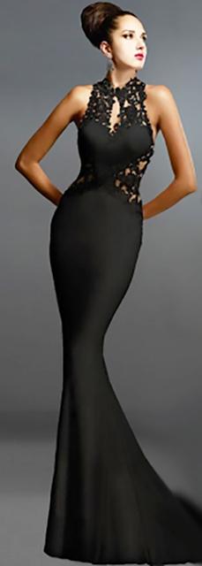 Sleek, Elegant Lace Applique Long Black Dress (14-19)