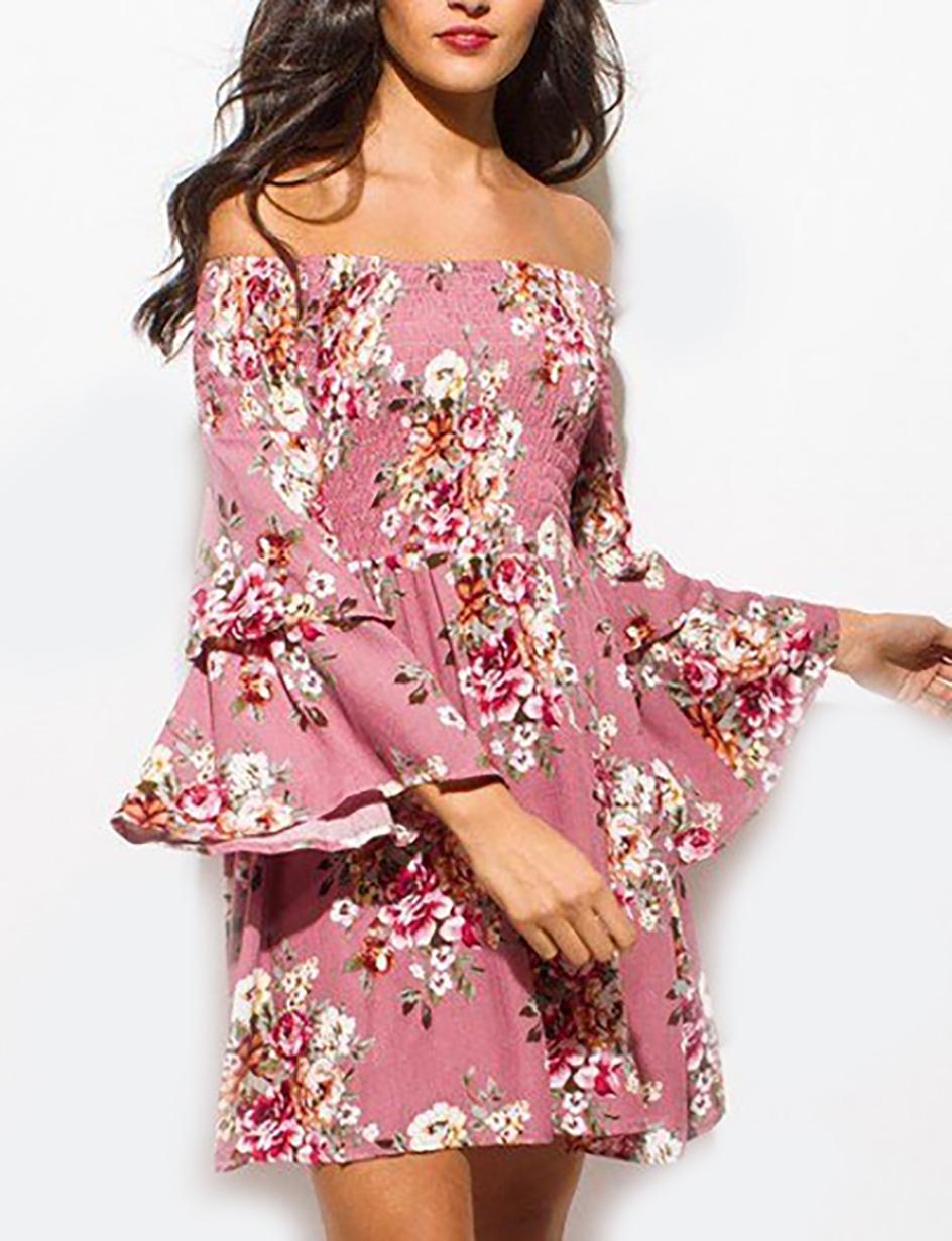 Off Shoulder Flounce Bell Sleeves Mauve Floral Dress (15-2)