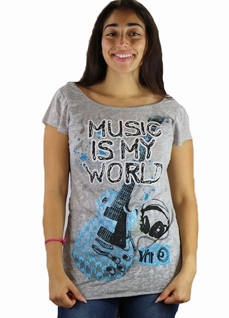 "Junior Gray Short Sleeve ""Music Is My World"" Tee (K-9)"
