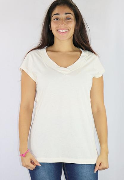 Cotton Cream Short Sleeve Tee V Neck (K-15)