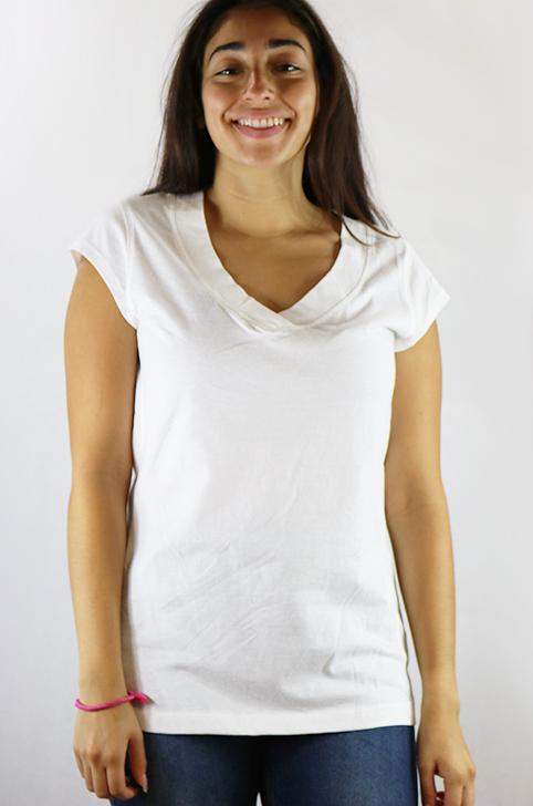 Cotton White Short Sleeve Tee V Neck (K-16)
