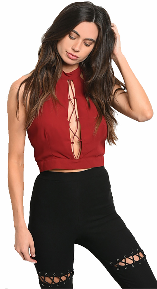 Sleeveless High Neck Lace Up Crop Wine Top (38-6)