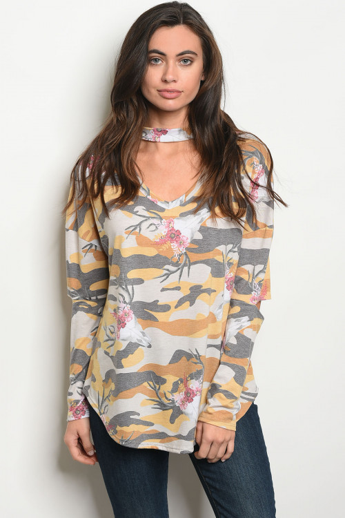 Long Sleeve Yellow/Gray Camouflage Jersey Top (38-14)