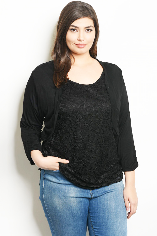 c825fc3bc48e2 Plus Size Two-in-One Tops Cardigan Black Lace Inner Shell (40-12 ...