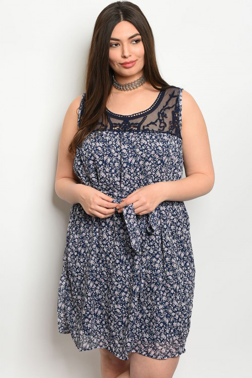 Plus Size Sleeveless Navy Floral Lace Neckline Dress (40-15)