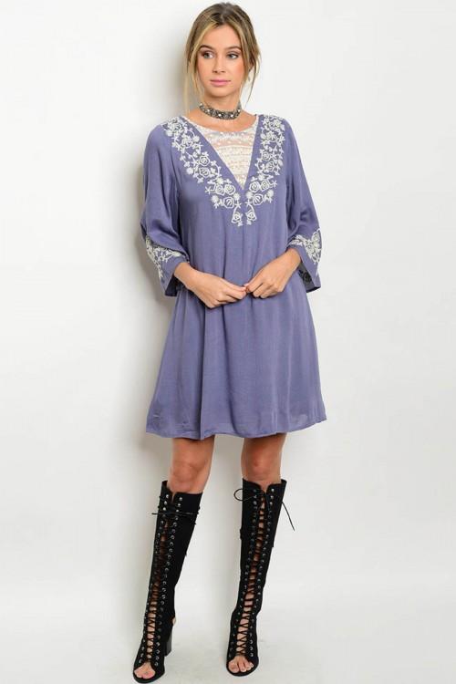 100% Rayon Flutter Sleeve Embroidery Tunic Indigo Dress (40-18)
