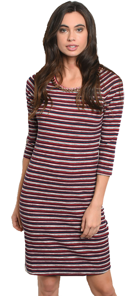 Nautical! Red & Navy Striped Midi Dress Round Neck (41-4)
